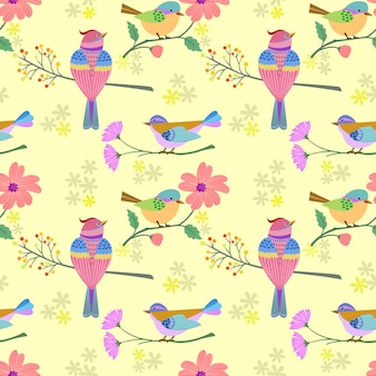 Uccello sul ramo con reticolo senza giunte di fiori.