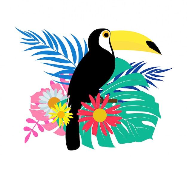 Uccello tucano con foglie di palma
