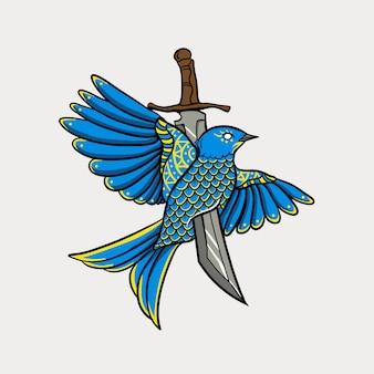 Uccello volante con illustrazione di spada
