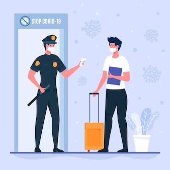 Ufficiale di polizia che controlla la temperatura