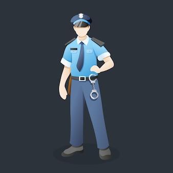 Ufficiale di polizia con posa in piedi