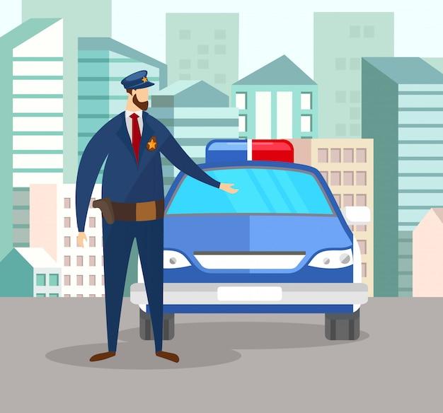 Ufficiale di poliziotto in uniforme stare vicino alla macchina della polizia