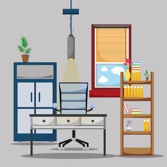 Ufficio con scrivania e accessori piatti per lavorare