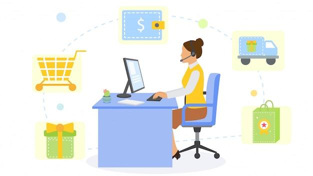 Ufficio del consulente di servizio di acquisto online e posto di lavoro del fumetto, illustrazione. lavoro di carattere donna con computer