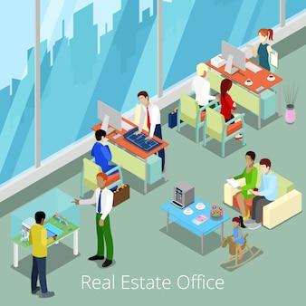 Ufficio immobiliare isometrico.
