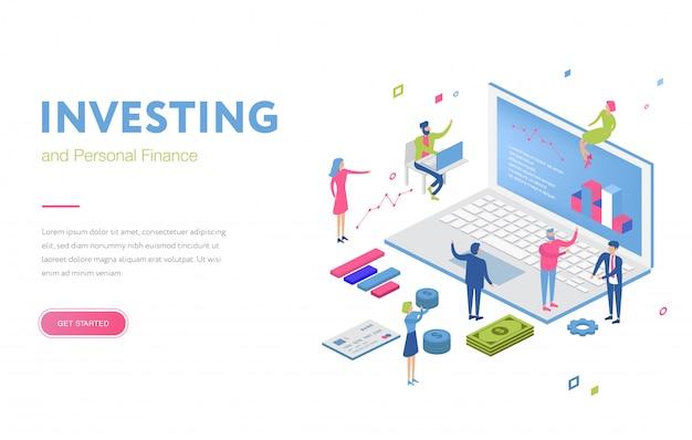 Ufficio isometrico con revisore finanziario o persone di finanza. gruppo di squadra vicino a freccia di crescita e monete. analisi del denaro.
