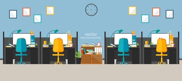 Ufficio lavoro in azienda lavora con il disegno vettoriale
