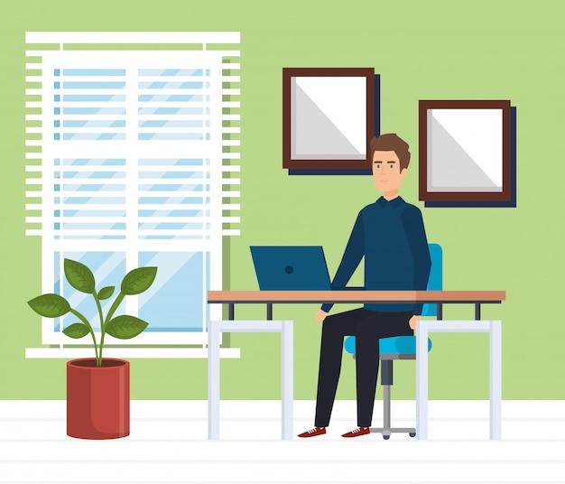 Ufficio moderno con uomo d'affari