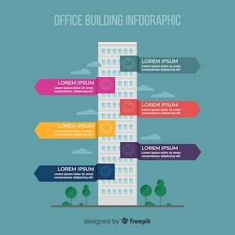 Ufficio moderno edificio infographic con design piatto