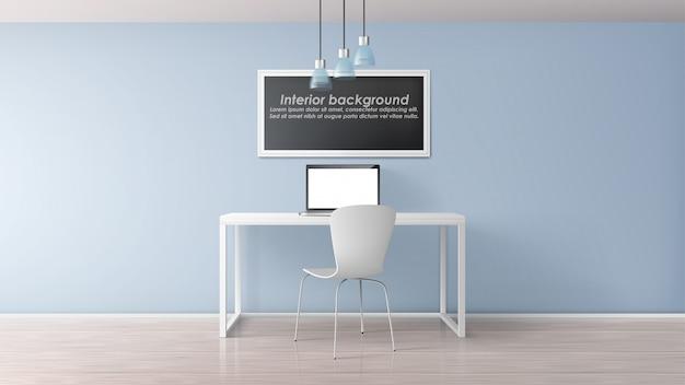 Ufficio moderno, posto di lavoro del centro di coworking, gabinetto di casa