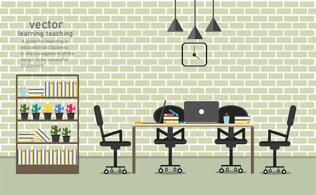Ufficio nella caffetteria per l'apprendimento e l'insegnamento