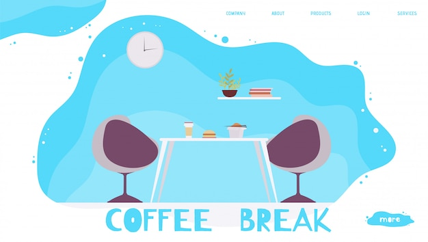 Ufficio pausa pranzo e pausa caffè. pagina di atterraggio dei cartoni animati