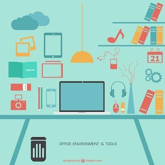 Ufficio piatta vettoriali gratis