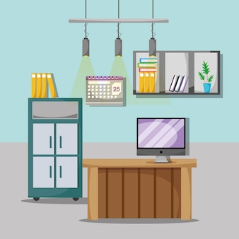 Ufficio piatto con scrivania e accessori da lavoro
