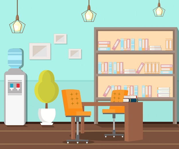 Ufficio vuoto, illustrazione piana del posto di lavoro