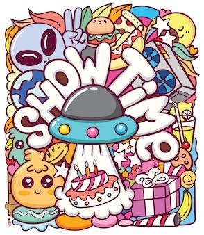 Ufo alieno carino con vari oggetti doodle arte