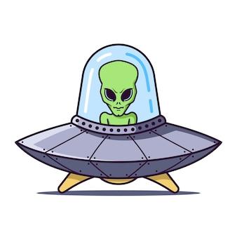 Ufo con un alieno verde su un bianco. personaggio piatto illustrazione.