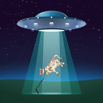 Ufo di notte con la mucca