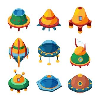 Ufo e astronavi. insieme isometrico del ufo di vettore isolato