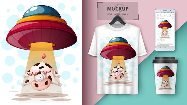 Ufo, mucca. design della maglietta