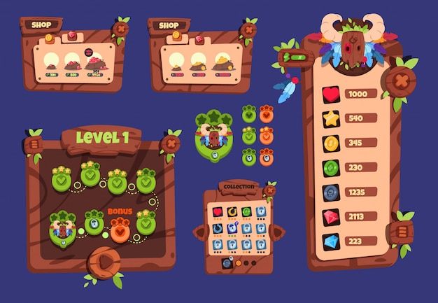 Ui di gioco dei cartoni animati. elementi in legno e menu popup, pulsanti e icone. disegno vettoriale dell'interfaccia di gioco 2d