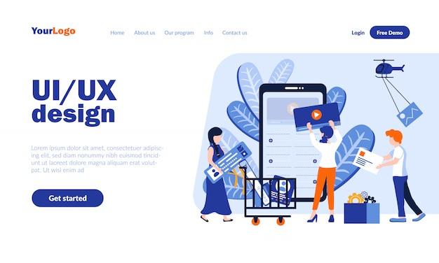 Ui e ux design template pagina di destinazione vettoriale con intestazione