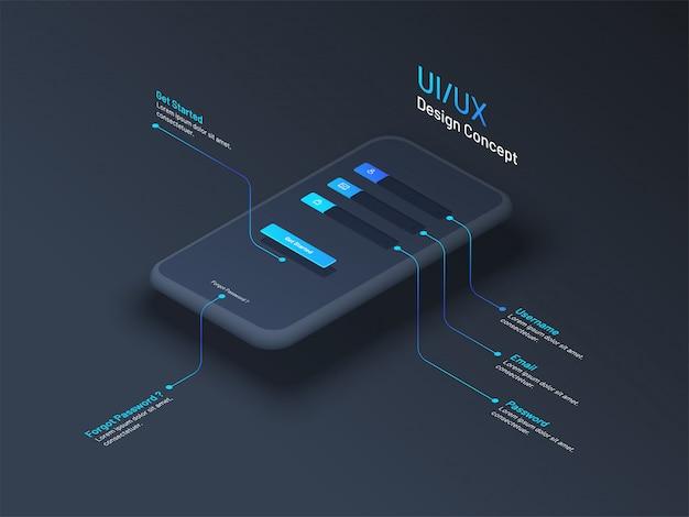 Ui o ux concept design con smartphone isometrico.
