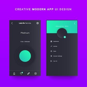 Ui per dispositivi mobili android ui, elementi di interfaccia utente per cruscotti mobili di ios