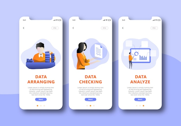 Ui schermo mobile onboarding analisi dati