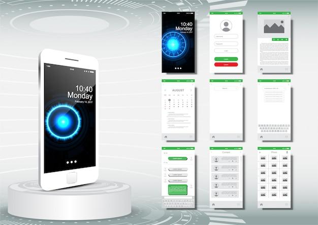 Ui, ux per modello di applicazione mobile, design pulito di colore verde