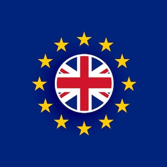 Uk bandiera all'interno european union flag