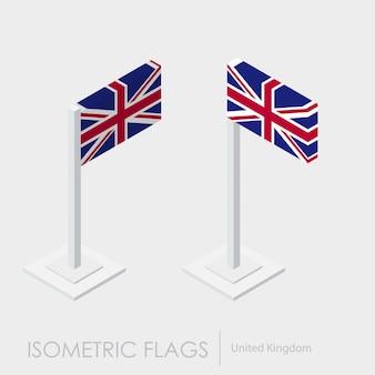 Uk- regno unito bandiera isometrica stile