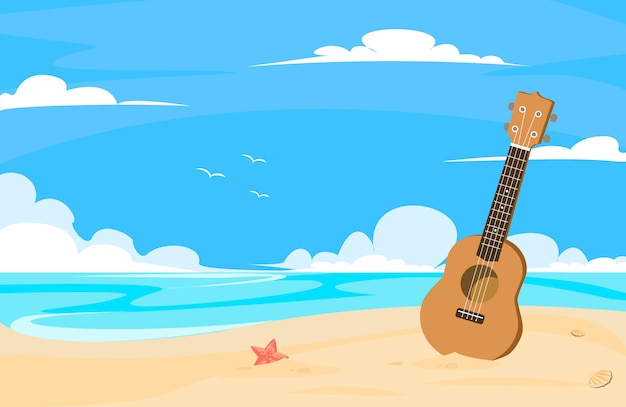Ukulele in spiaggia con il giorno del cielo blu