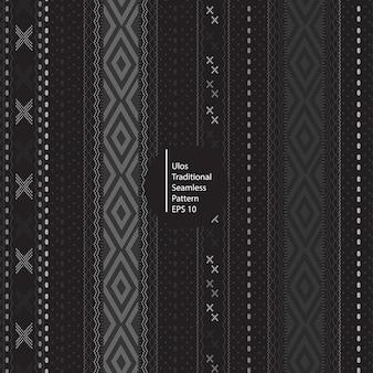 Ulos batik tradizionale indonesia seamless pattern di colore scuro sullo sfondo
