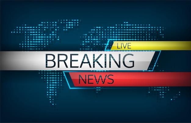 Ultime notizie in diretta sullo sfondo della mappa del mondo.