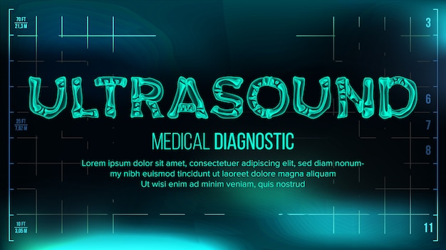 Ultrasound banner vector. sfondo medico. testo trasparente dei raggi x di roentgen con le ossa. scansione 3d di radiologia. tipografia di salute medica. illustrazione futuristica