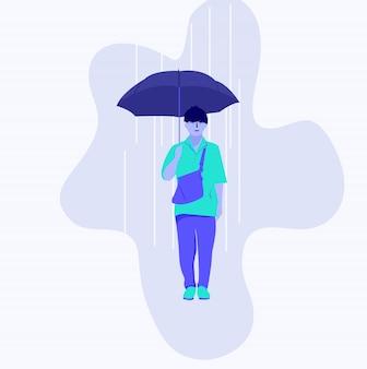 Un adolescente che indossa un ombrello quando piove
