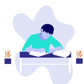 Un adolescente che studia