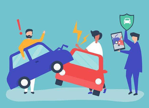 Un agente di assicurazione che risolve un incidente stradale