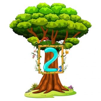 Un albero con una figura numero due su uno sfondo bianco