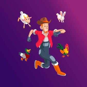 Un allevatore felice con polli, pecore e anatre.