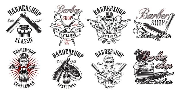 Un ampio set di illustrazioni in stile vintage per un barbiere con un teschio
