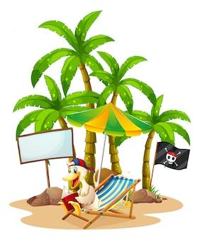 Un'anatra che si rilassa alla spiaggia vicino all'insegna vuota