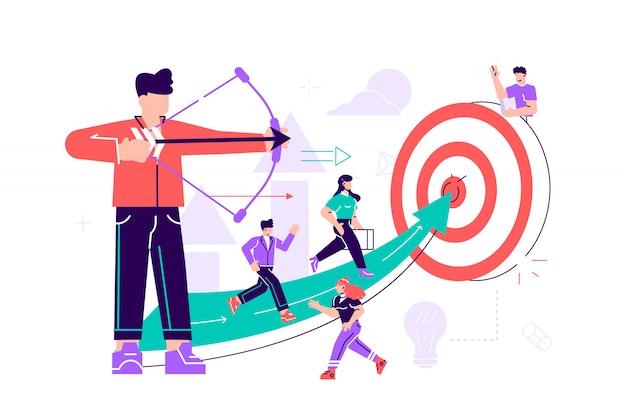 Un arciere uomo d'affari che punta su un bersaglio, le persone corrono verso il loro obiettivo lungo la freccia verso il cutter, aumentano la motivazione, il modo per raggiungere l'obiettivo.