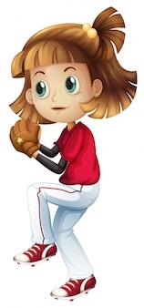 Un atleta di baseball femminile