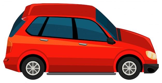 Un'automobile rossa di suv su fondo bianco