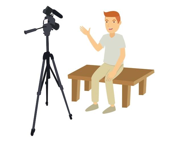Un'azione uomo davanti alla telecamera