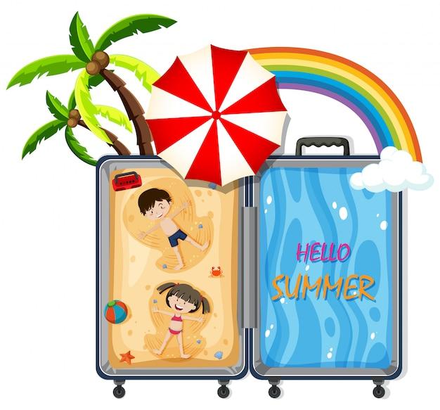Un bagaglio con viaggio in spiaggia