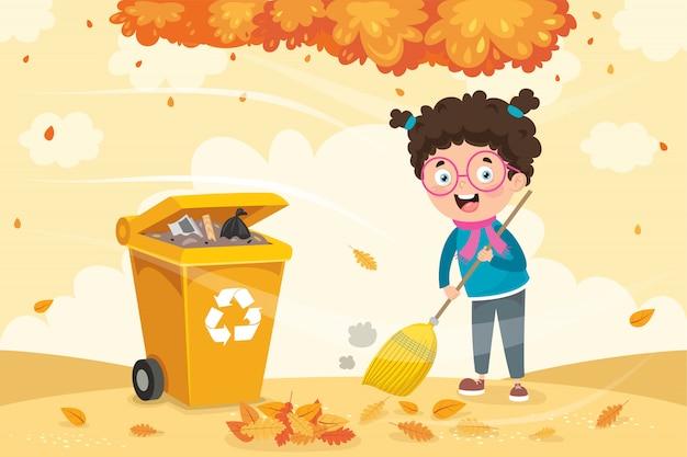 Un bambino che spazza il pavimento