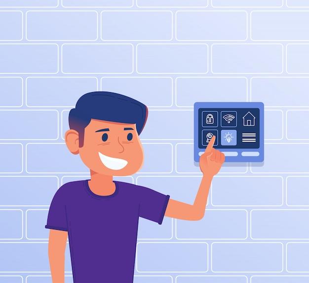 Un bambino che usa il pannello di controllo della casa intelligente.